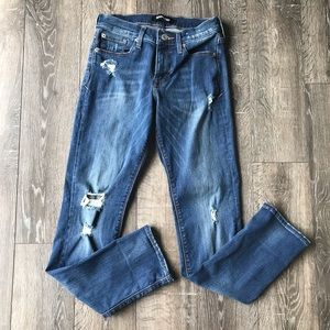 Express Distressed Cropped Mid-Rise Skinny Jeans